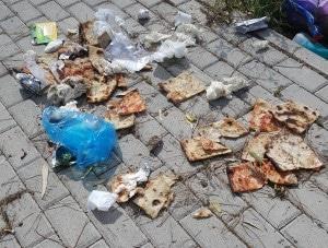 I rifiuti lasciati  a terra in via del Cinema a Falasche